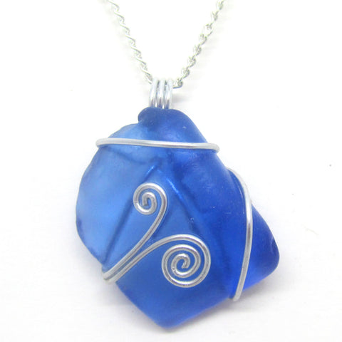 Rare Bright Blue Scottish Sea Glass Celtic Swirl Pendant Necklace (No. 944)