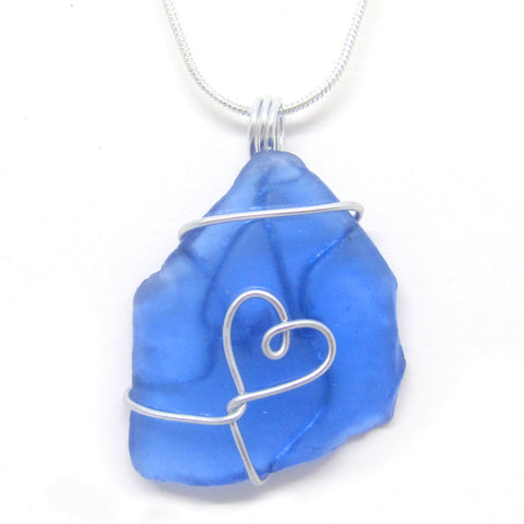 Rare Bright Blue Scottish Sea Glass Love Heart Pendant Necklace (No. 945)