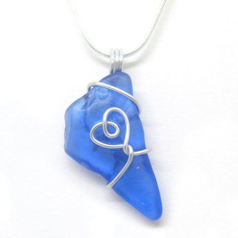 Rare Bright Blue Scottish Sea Glass Love Heart Pendant Necklace (No. 946)