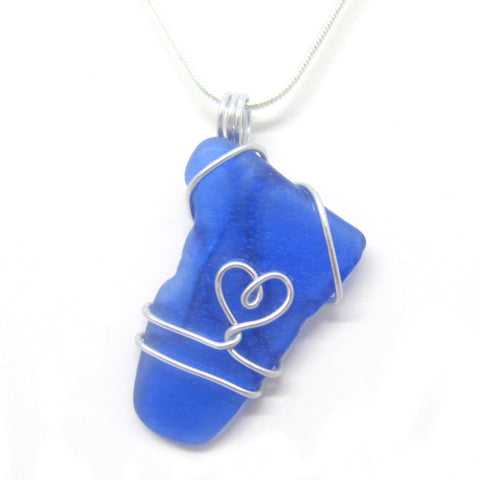 Rare Bright Blue Scottish Sea Glass Love Heart Pendant Necklace (No. 947)