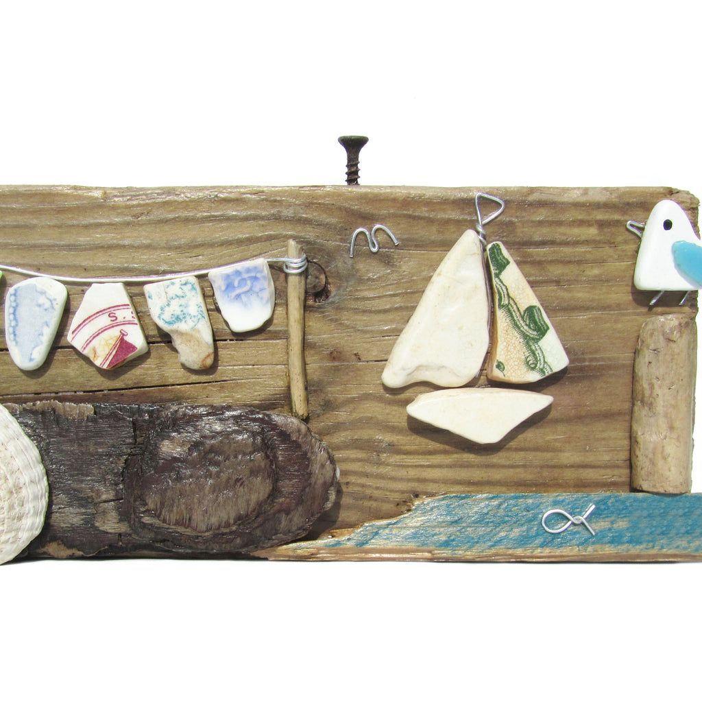 Seagull, Sailing Boat & Washing Line - Beach Pottery - Pebble Art Driftwood Ornament (No. 949)