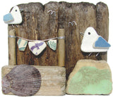 Pebble Seagulls & Antique Sea Pottery Washing Line - Driftwood Ornament (No. 950)
