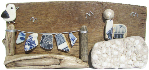 Pebble Seagull, Lighthouse & Antique Sea Pottery Washing Line - Driftwood Ornament (No. 951)