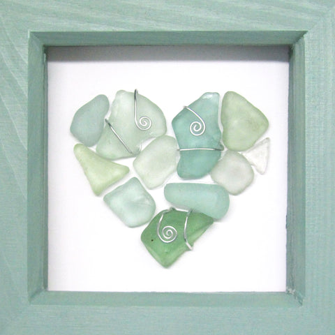 Green Scottish Sea Glass Love Heart - Small Framed Beach Collage (No. 952)