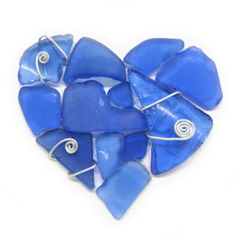 Rare Blue Scottish Sea Glass Love Heart - Small Framed Beach Collage (No. 953)