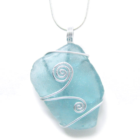 Aqua Blue Green Scottish Sea Glass Celtic Swirl Pendant (No. 954)