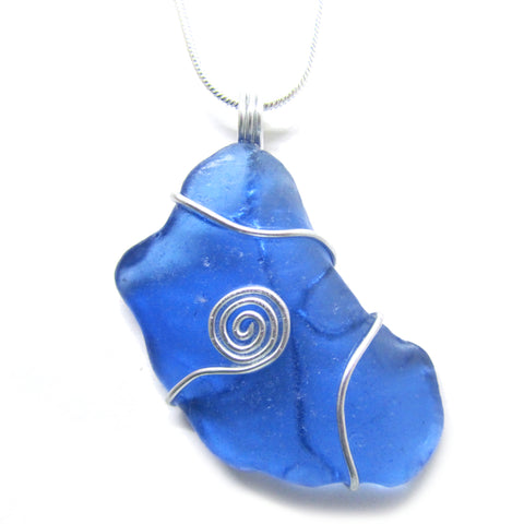 Rare Bright Blue Scottish Sea Glass Celtic Swirl Pendant (No. 956)