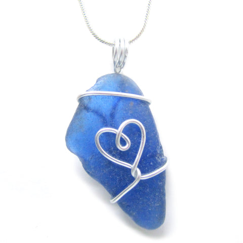 Rare Bright Blue Scottish Sea Glass Love Heart Pendant Necklace (No. 957)