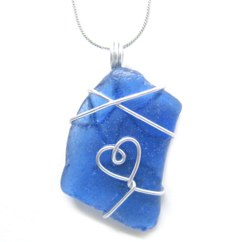 Rare Bright Blue Scottish Sea Glass Love Heart Pendant Necklace (No. 958)