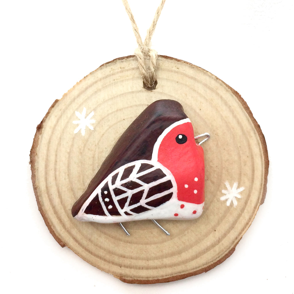 Robin - Hand-Painted Beach Pebble Christmas Tree Decoration (No. 959)