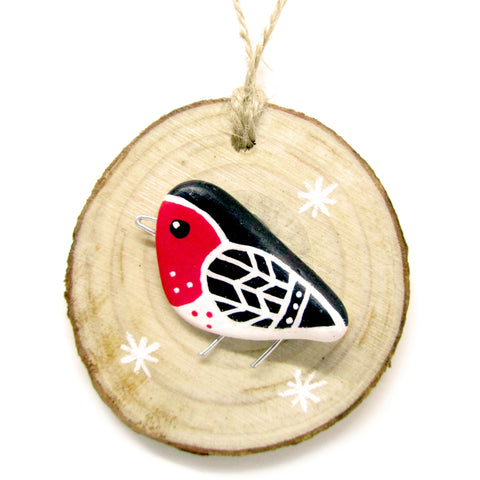 Robin - Hand-Painted Beach Pebble Christmas Tree Decoration (No. 961)