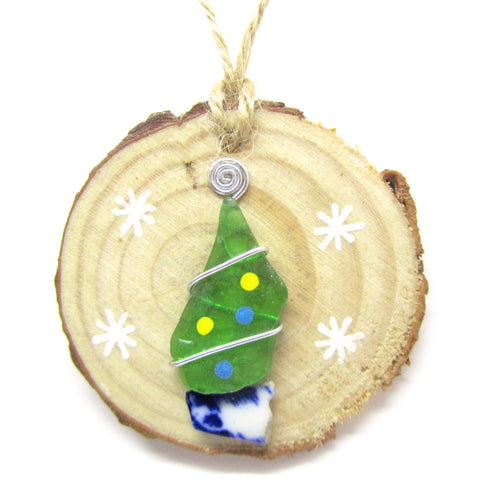 Seaglass & Beach Pottery Christmas Tree Decoration (No. 972)