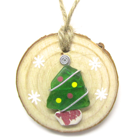 Seaglass & Beach Pottery Christmas Tree Decoration (No. 974)