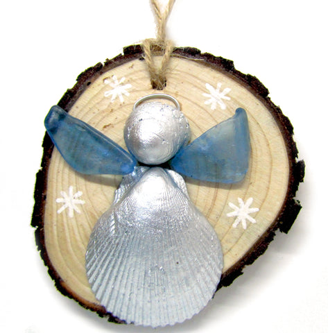 Angel - Scallop & Whelk Silver Shell & Blue Sea Glass Christmas Tree Decoration (No. 978)