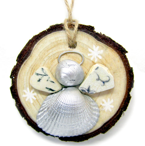 Angel - Cockle & Whelk Silver Shell & Beach Pottery Christmas Tree Decoration (No. 980)