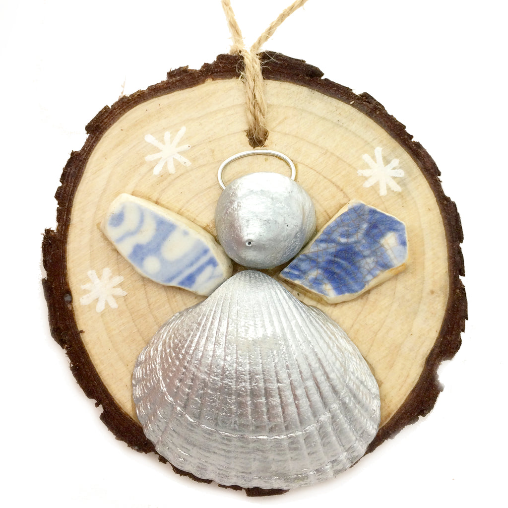 Angel - Cockle & Whelk Silver Shell & Beach Pottery Christmas Tree Decoration (No. 981)