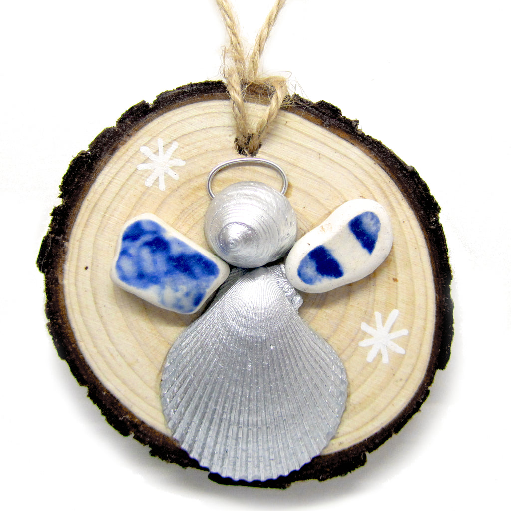 Angel - Scallop & Whelk Silver Shell & Beach Pottery Christmas Tree Decoration (No. 984)