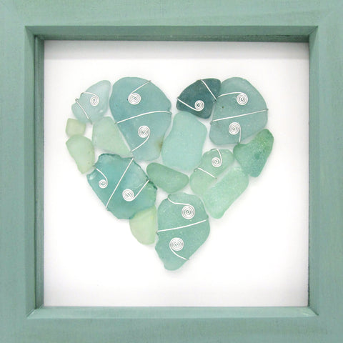 Green Scottish Sea Glass Love Heart - Framed Beach Collage (No. 994)