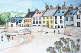 Anstruther Stepping Stones with Daisies - Limited Edition Watercolour Print by Yolandé Kenny