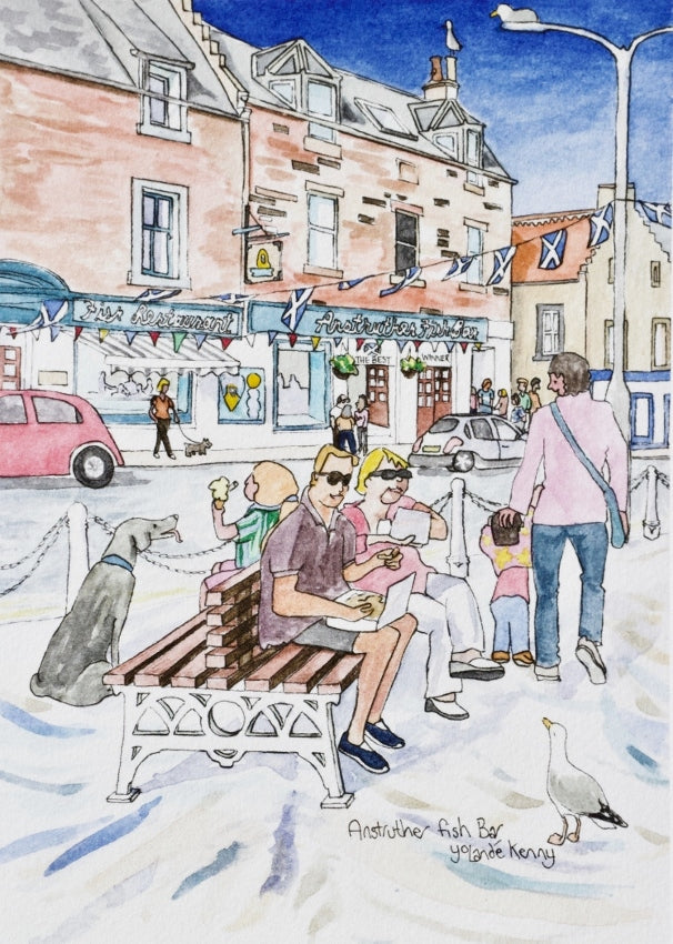 Anstruther Fish Bar - Limited Edition Watercolour Print by Yolandé Kenny