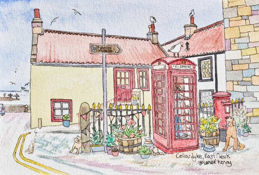 Cellardyke Phone Box - Limited Edition Watercolour Print by Yolandé Kenny