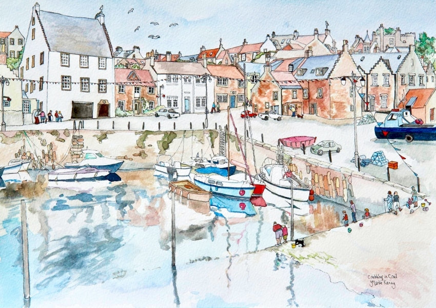 Crabbing in Crail - Limited Edition Watercolour Print by Yolandé Kenny