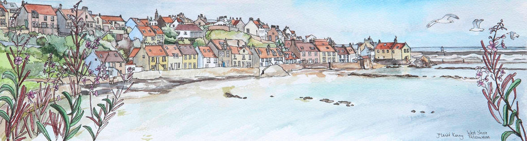 Pittenweem West Shore - Limited Edition Watercolour Print by Yolandé Kenny