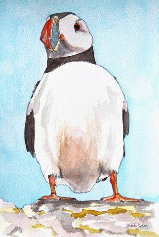Puffin - Limited Edition Watercolour Print by Yolandé Kenny