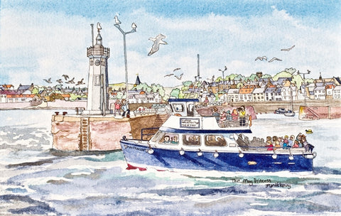 The May Princess Leaving Anstruther Harbour - Limited Edition Watercolour Print by Yolandé Kenny