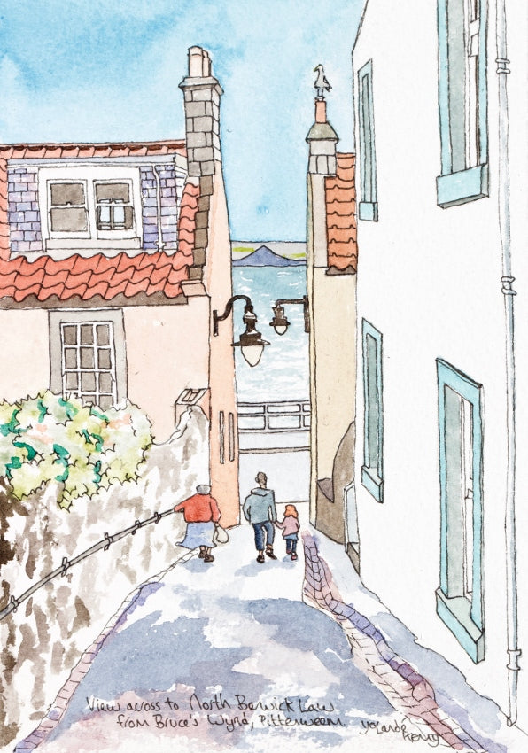 View Down Bruce's Wynd in Pittenweem - Limited Edition Watercolour Print by Yolandé Kenny