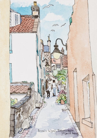 View Up Bruce's Wynd in Pittenweem - Limited Edition Watercolour Print by Yolandé Kenny