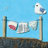 "Limited Edition, Signed Giclée Seaside Print: ""Seagull on Washing Line with Pottery Laundry"""