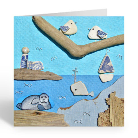 """Busy Seaside Scene with Seal, Seagulls & Whale"" Greetings Card (No.458)"