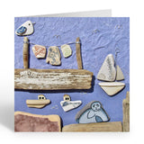 """Large Moonlit Harbour Scene"" Greetings Card (No.459)"