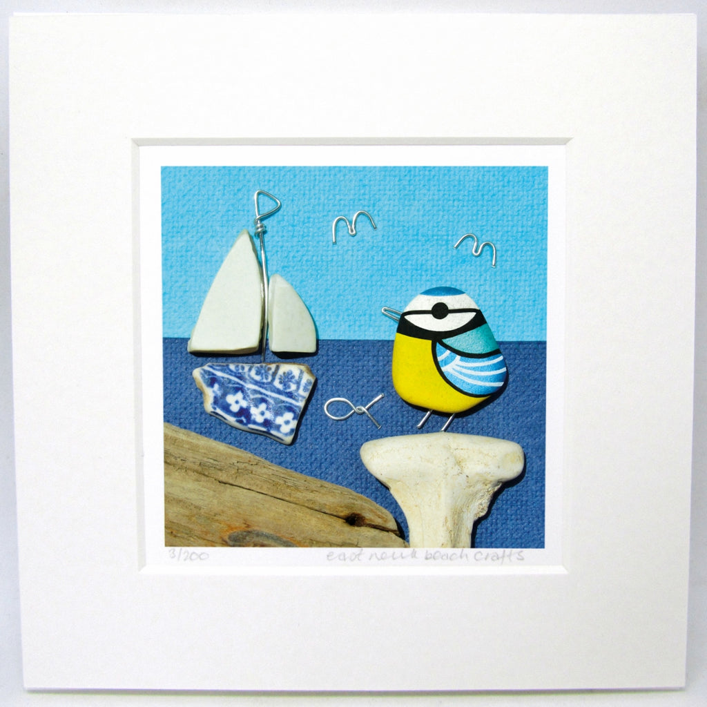 "Limited Edition, Signed Giclée Seaside Print: ""Blue Tit & Pottery Sailing Boat"""