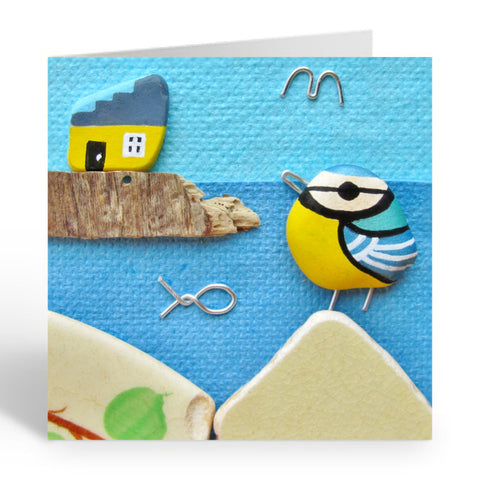 """Blue Tit & Yellow Cottage"" Greetings Card (No. 461)"