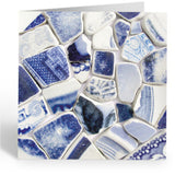 "Greetings Cards (Pack of 5) - ""Marine Mosaics"" - Love Hearts, Boats, Sea Glass & Pottery"