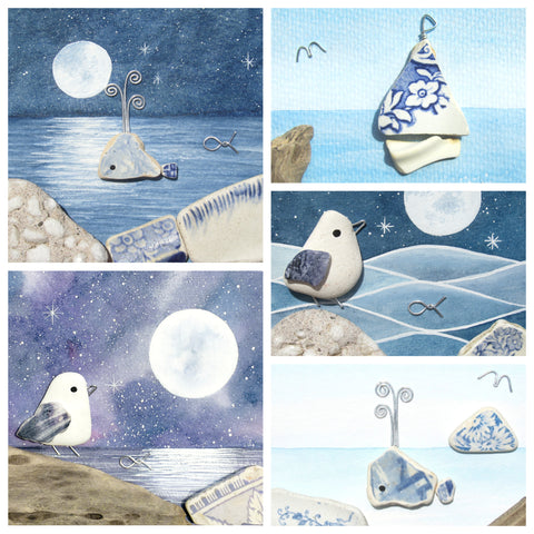 "Greetings Cards (Pack of 5) ""Blue Seas"" - Watercolour Moons, Whales, Birds & Boats"
