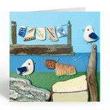 """Highland Cow, Seagulls & Washing Line"" Greetings Card (No. 1041)"
