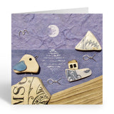 """Seagull & Fishing Boat Moonlit Scene"" Greetings Card (No. 456)"