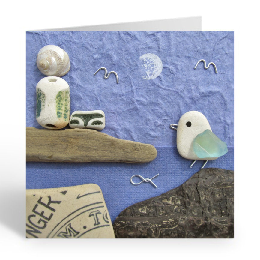 """Seagull & Lighthouse Moonlit Scene"" Greetings Card (No. 460)"