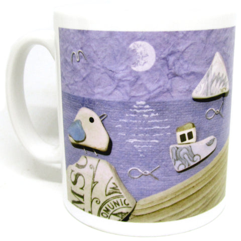 """Moonlight Seagulls"" Ceramic Mug & Gift Box"