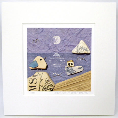 "Limited Edition, Signed Giclée Seaside Print: ""Seagull & Fishing Boat by Moonlight"""