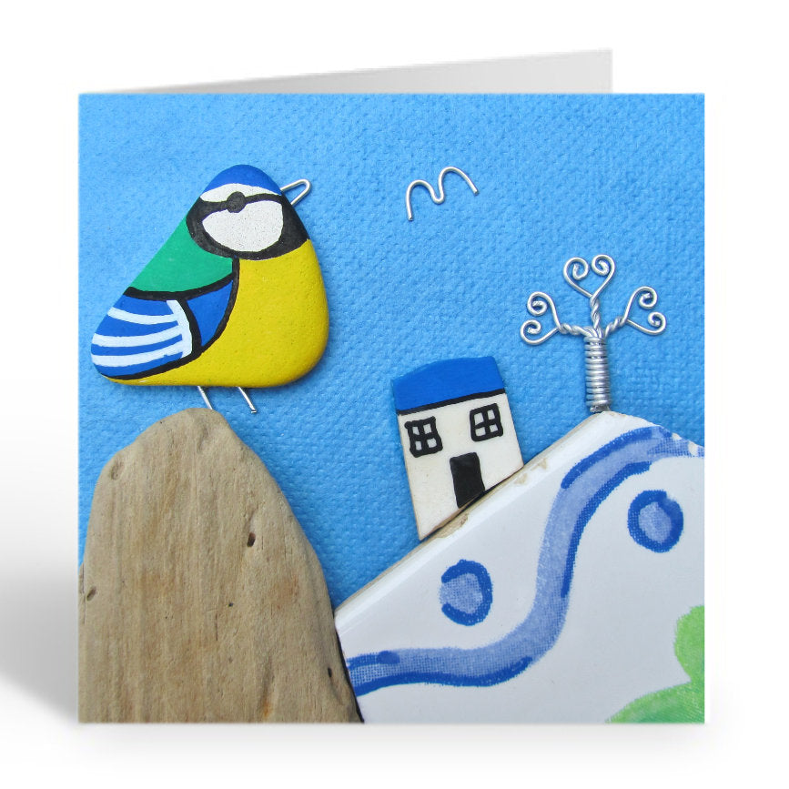 """Blue Tit, Cottage & Pottery Hills"" Greetings Card (No. 369)"