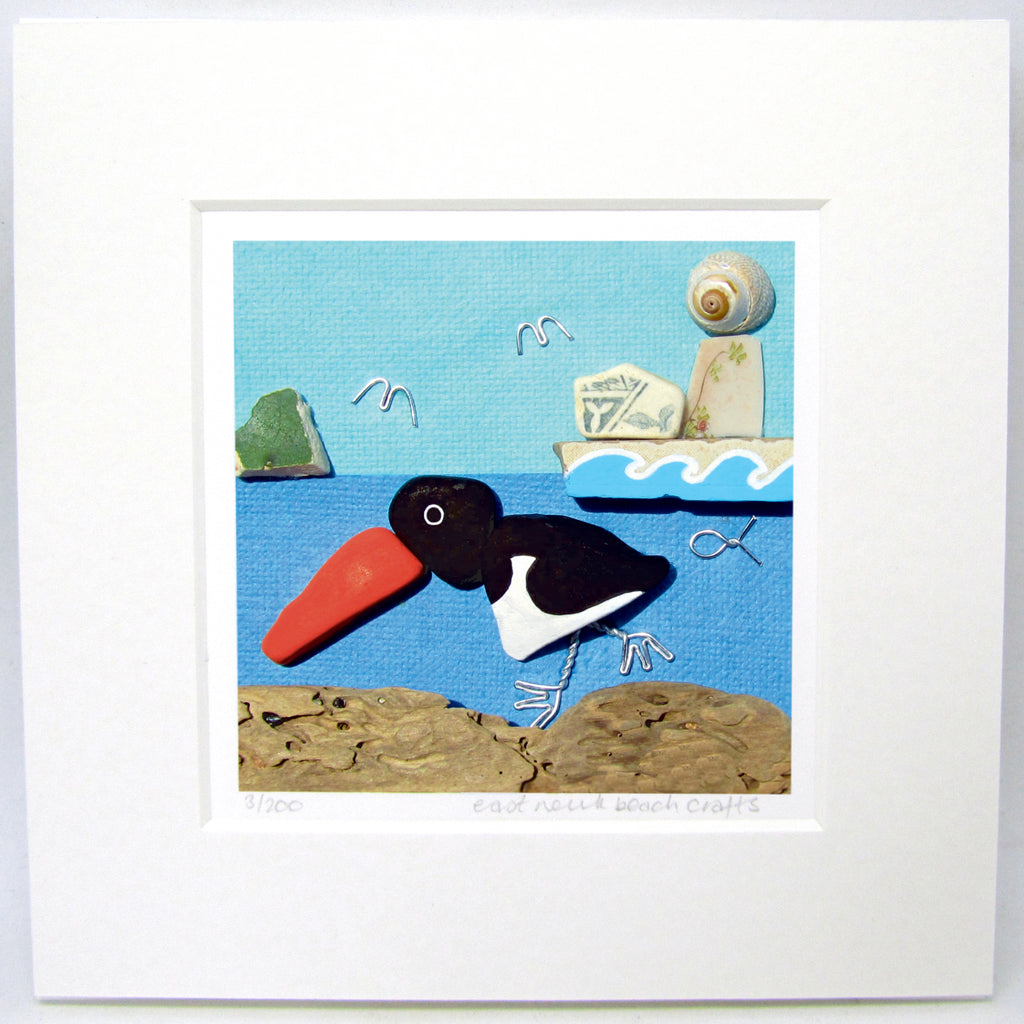 "Limited Edition, Signed Giclée Seaside Print: ""Oystercatcher with Bass Rock & Lighthouse"""