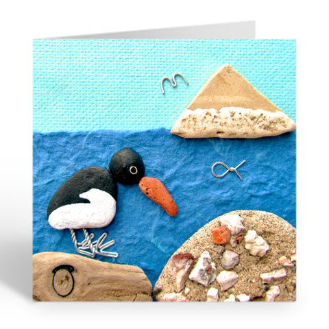 """Oystercatcher & Berwick Law"" Greetings Card (No. 365)"