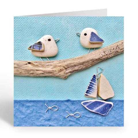 """Pair of Seagulls and Sailing Boat"" Greetings Card (No. 364)"