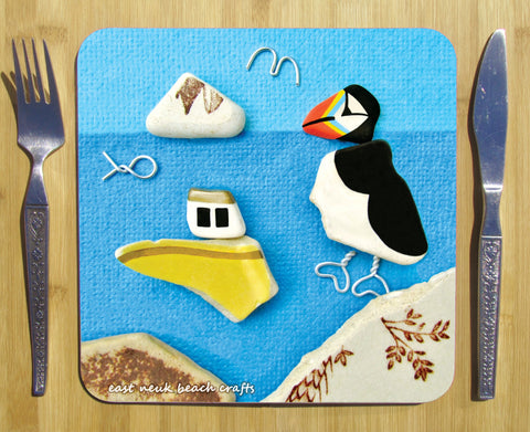 """Puffin & Fishing Boat"" Square Seaside Placemat"