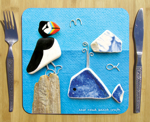 """Puffin & Whale"" Square Seaside Placemat"