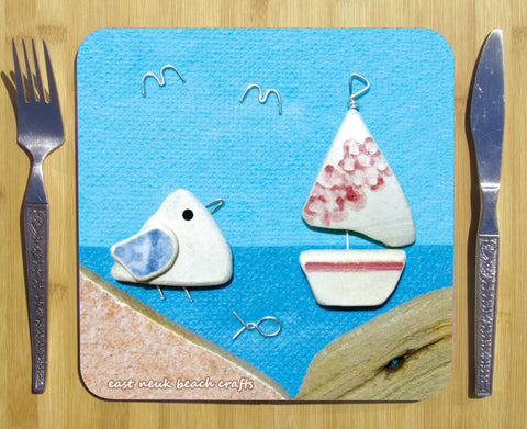 """Seagull & Sailing Boat"" Square Seaside Placemat"